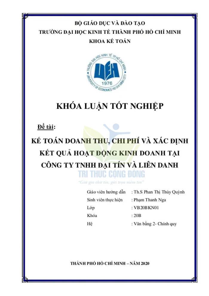 Mẫu bìa khóa luận tốt nghiệp UEH