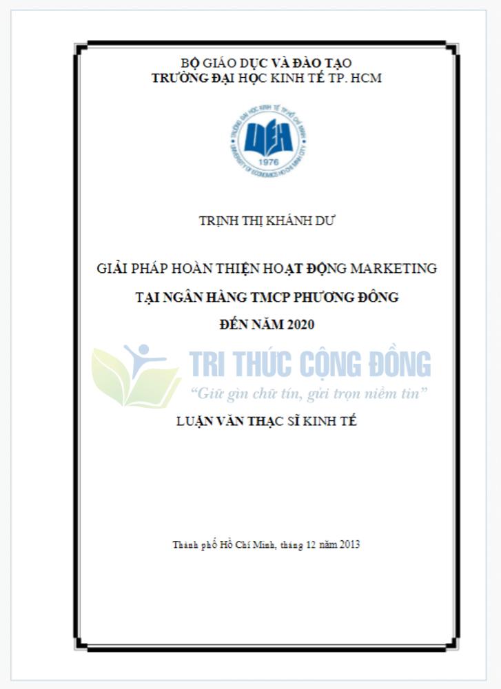 Mẫu bìa luận văn thạc sĩ UEH ( Đại học Kinh tế TP. Hồ Chí Minh)