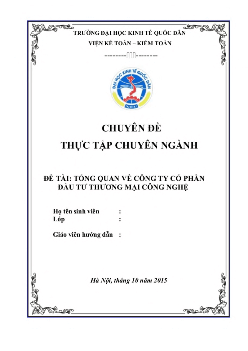 Mẫu bìa luận văn thạc sĩ NEU ( Đại Học Kinh tế Quốc dân)