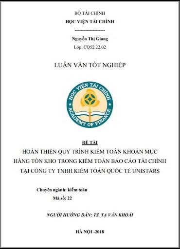 Mẫu bìa luận văn thạc sĩ AOF ( Học viện Tài chính)