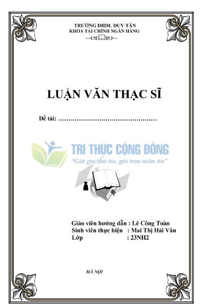 Mẫu bìa luận văn tốt nghiệp Đại Học Duy Tân
