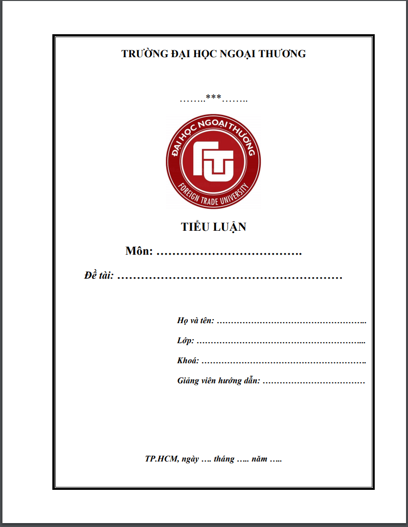Mẫu bìa tiểu luận FTU