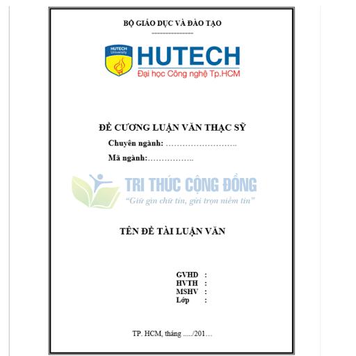Mẫu đề cương luận văn thạc sĩ Quản trị kinh doanh Trường Hutech