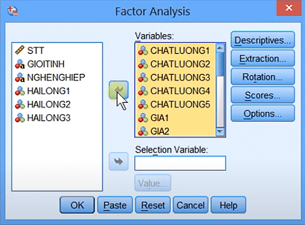 Chọn các biến quan sát vào hộp Variables