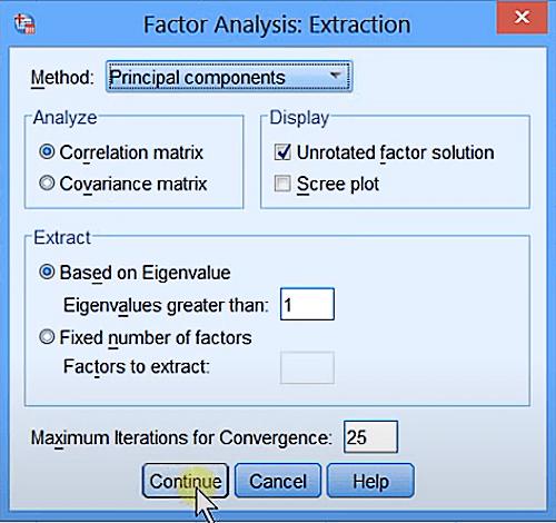 Chọn Principal components trong tab Method