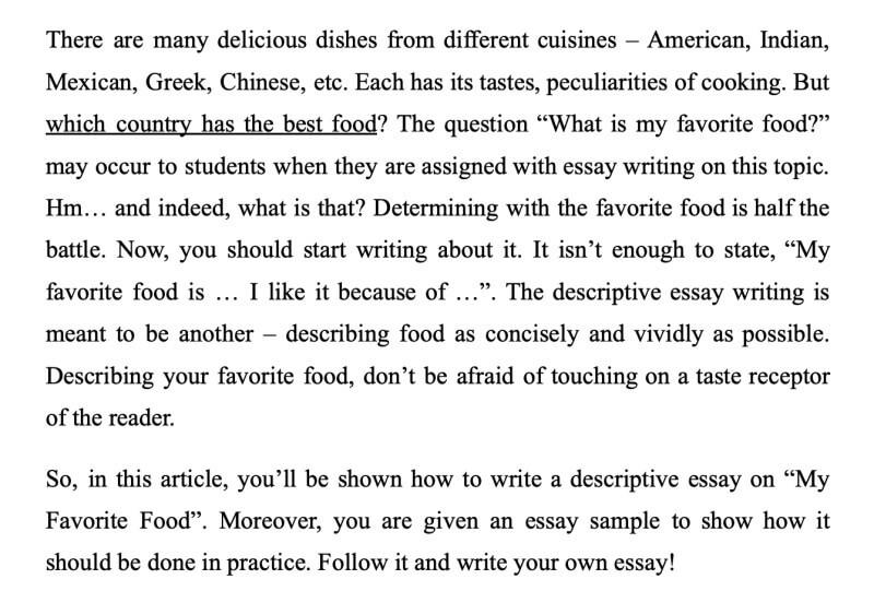 Một đoạn trích từ descriptive essay about food