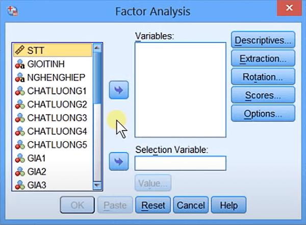 Hộp thoại Factor Analysis